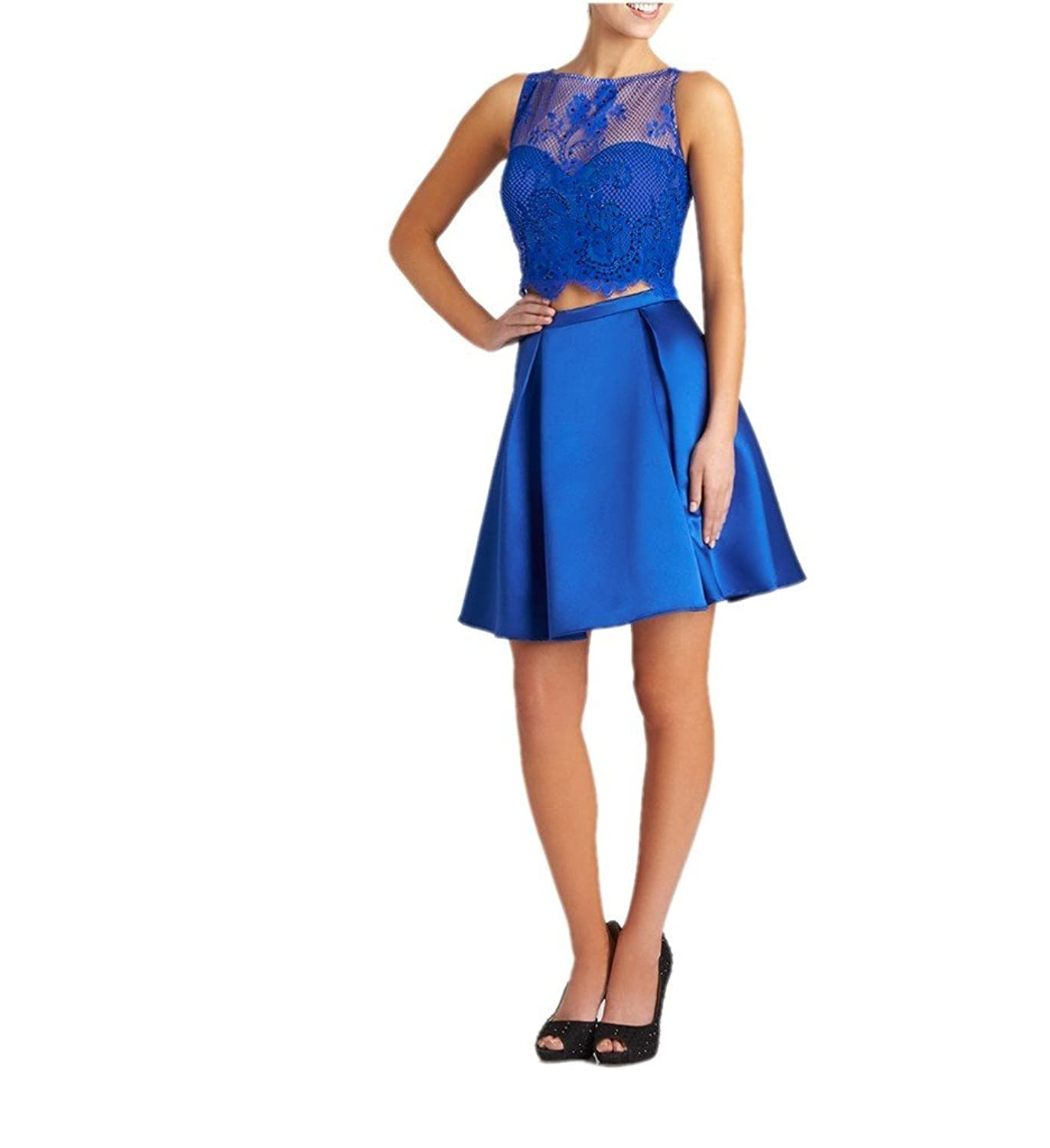 Charm Bridal Satin Cocktail Party Short Homecoming Dress for Girls two piece