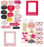 Bachelorette Party Photo Booth Props - 35-Pack Funny Photo Props, Selfie Props Picture Frames - Party Supplies Bridal Showers Slumber Party, Assorted Designs, Pink, Red Black