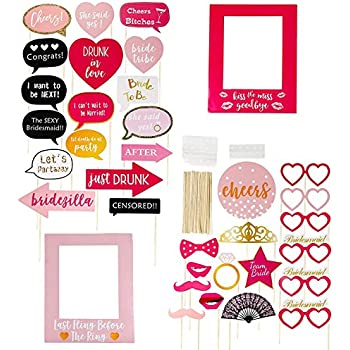bachelorette party photo booth props 35 pack funny photo props selfie props and picture frames party supplies for bridal showers and slumber party