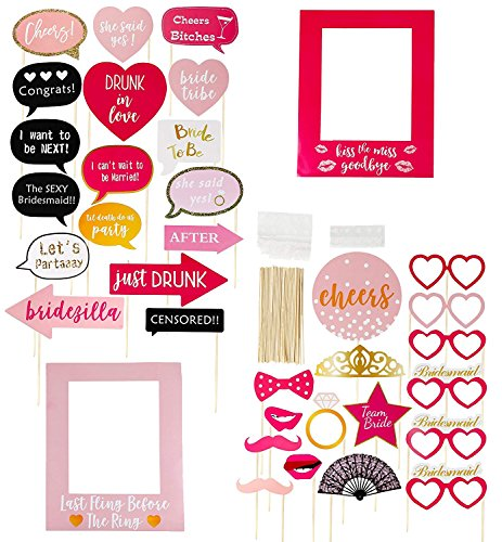 Bachelorette Party Photo Booth Props - 35-Pack Funny Photo Props, Selfie Props and Picture Frames - Party Supplies for Bridal Showers and Slumber Party, Assorted Designs, Pink, Red and Black