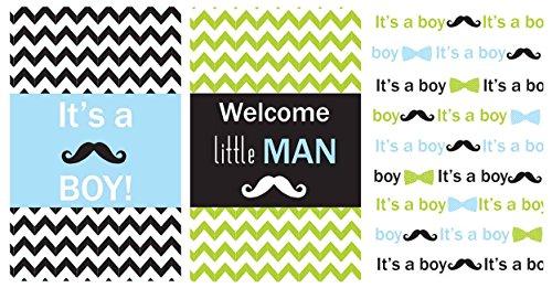 Little Man Miniatures Candy Bar Boy Baby Shower Favors Set of 54 Stickers