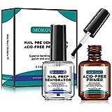 Morovan Professional Natural Nail Prep Dehydrator and Nail Acid-Free Primer Set, Acid Free Primer & Dehydrate Bond…