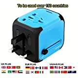 International Travel Power Adapter with 2.4A Dual USB Charger & Worldwide AC Wall Outlet Plugs for UK, US, AU, Europe & Asia,Great for iPhone/iPad/Samsung/Smartphone -Built-in Spare Fuse