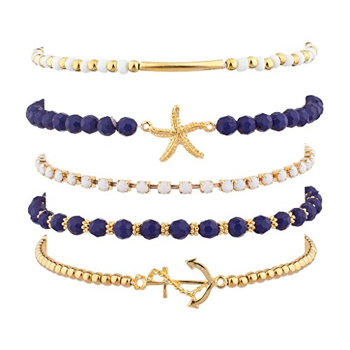 Lux Accessories Navy Nautical Starfish Gold Tone Anchor Arm Candy Set (5PC) -