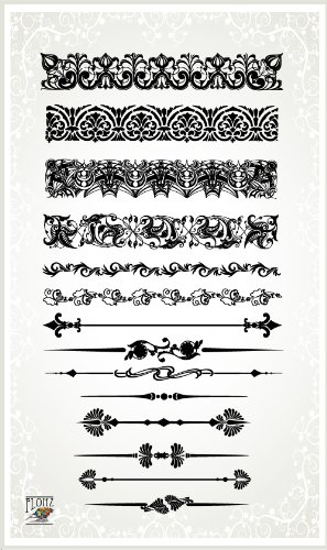 Rubber Border Stamp - Damask Baroque Borders // Clear stamps pack (4