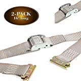 "2 E Track 2"" x 16' Cargo Tie-Down Cam Straps, Durable Cam Buckle Strap Cargo TieDowns, Heavy Duty Polyester & E-Track Spring Fittings, Secure Motorcycles, Pickup, Truck, Trailer Loads"