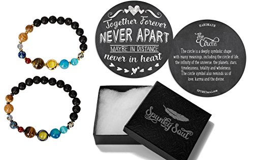 SPUNKYsoul Solar System Earth Planets Bracelet Universe Galaxy Couples Long Distance for His and Hers Women and Men Jewelry Gifts Space Collection ()