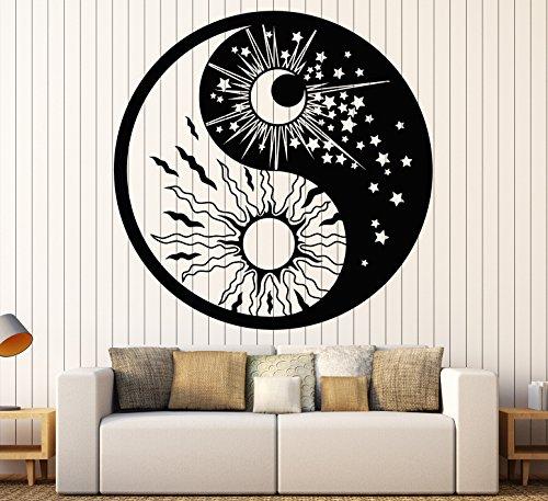 Wall Decal Yin Yan Symbol Sun Moon Buddhism Stars Day