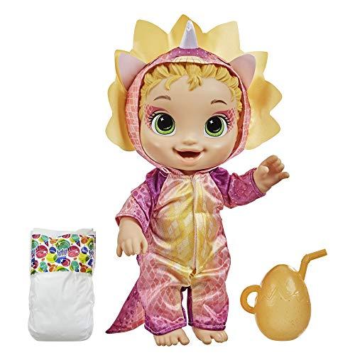 Baby Alive Dino Cuties Doll, Triceratops, Accesorios para muñecas, Bebidas, Mojados, Triceratops Dinosaur Toy para niños de 3 años en adelante, Cabello rubio