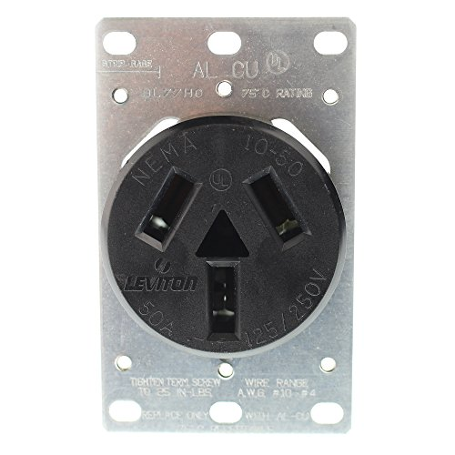 Leviton 5206 50 Amp, 125/250 Volt, NEMA 10-50R, 3P, 3W, Flush Mounting Receptacle, Straight Blade, Industrial Grade, Non-Grounding, Side Wired, Steel Strap, Black