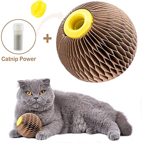 ARELLA Catnip Ball Toy for Cats Catnip Refillable Scratcher Ball Kitty's Faithful Playmate Reduce Obesity and Loneliness…