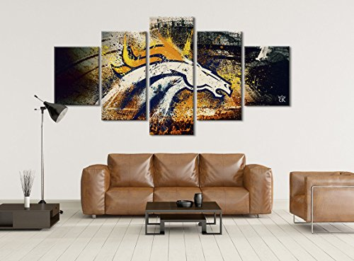 Denver Broncos Football Canvas || Modern Sports Wall Art - Hand Made In The US - Framed And Ready To Hang by Canvas Kings