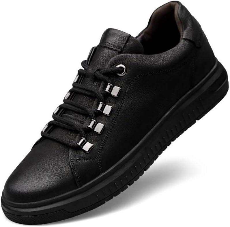 Farbe : Braun, Gr/ö/ße : 36EU Yuanzhiws M/änner echtes Leder-Sneakers Wei/ß Innenraum Erh/öhte 6cm Freizeit atmungsaktiv Outdoor-Anti-Rutsch-Sport-beil/äufige runde Zehe