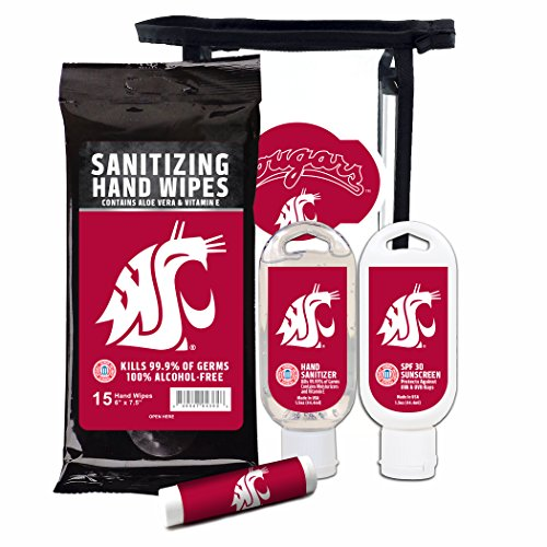 Worthy Promotional NCAA Washington State Cougars 4-Piece Premium Gift Set with SPF 15 Lip Balm, Sanitizer, Wipes, Sunscreen