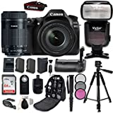 Canon EOS 80D Digital SLR with Canon EF-S 18-135mm f/3.5-5.6 Image Stabilization USM, EF-S 55-250mm f/4-5.6 STM Lens, Professional Accessory Bundle (16 items)