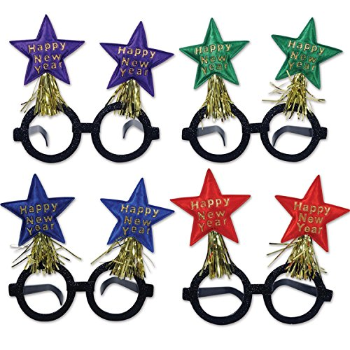 [Club Pack of 12 Glittered Happy New Years Star Bopper Decorative Party Glasses] (Happy New Year Boppers)