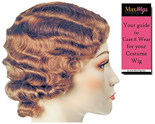 (FingerWave Fluff Flapper Color Light Brown - Lacey Wigs 1920s Marcel 42nd Street Theater Chicago HarlowBundle With MaxWigs Costume Wig Care)
