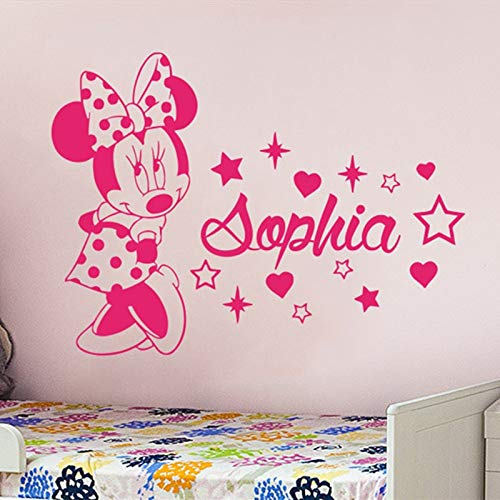 PPL21 (Leave a Message of Custom Information) Minnie Wall Decal Custom Name for Girls Bedroom Vinyl Wall Stickers Kids Room Personalized Name Animal Mouse Nursery DecorSYY963 1 PCs