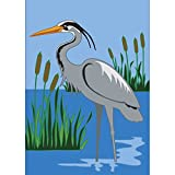 Herron in Blue Water Cattail Shores 18 x 13 Rectangular Double Applique Small Garden Flag Review