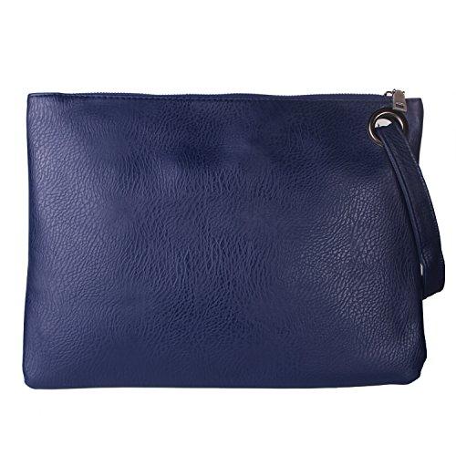 Aladin Oversized Clutch Bag Purse, Womens Large leather Evening Wristlet Handbag (Dark Blue)