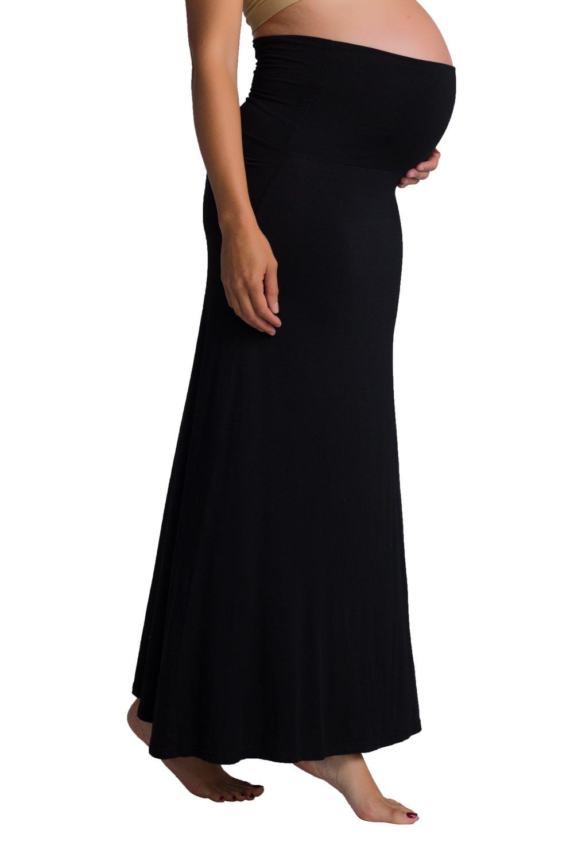 Ellie Flora Women's Maternity High Waisted Fold Over Maxi Skirt Mama Clothes