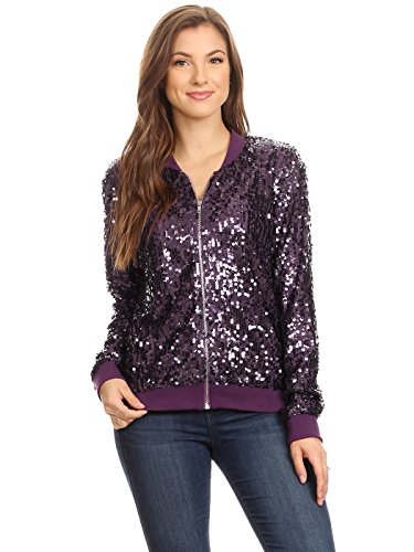 Anna-Kaci Womens Sequin Long Sleeve Front Zip Jacket with Ribbed Cuffs, Purple, Medium