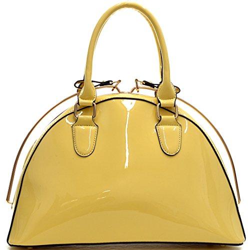 Dasein Faux Leather Structured Satchel Shoulder Handbag - Yellow