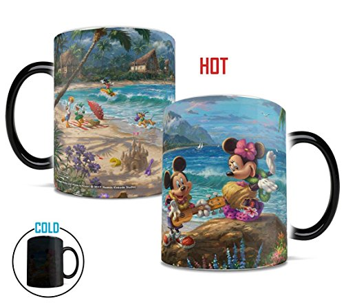 Morphing Mugs Thomas Kinkade Disney Mickey and Minnie in Hawaii Heat Reveal Ceramic Coffee Mug - 11 Ounces - Daisy Coffee Cup