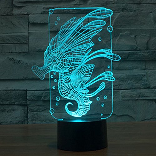 Hippocampus 3D Night Light, Elstey Breastfeeding 3D Cartoon Led Lamp Color Changing Touch Switch USB Novelty Light For Gifts