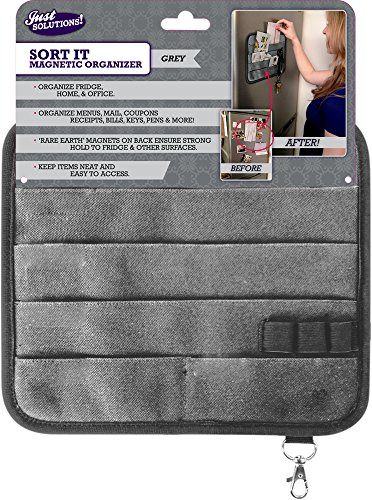 Magnetic Kitchen Fridge Organizer for Receipts, Menus, Notes, Keys and More! - Grey ... (Black Magnetic Fridge Organizer compare prices)