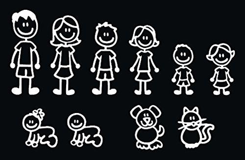 10 STICK FIGURE FAMILY your stick figure family can be applied to any clean dry surface your Funny Vinyl Decal Sticker comes In White No Inks 100% Viny Sizes Range From 5 1/2