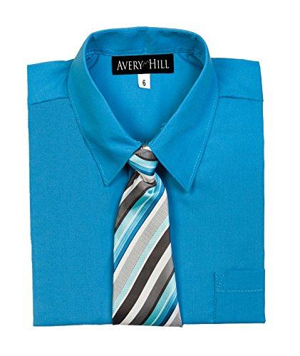(Avery Hill Boys Short Sleeve Dress Shirt Windsor Tie Vivid Blue 8)