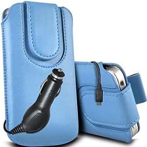 ONX3 Nokia Asha 503 Leather Slip protectora magnética de la PU de cordón en la bolsa del lanzamiento rápido con 12v Micro USB cargador de coche (Baby Blue)
