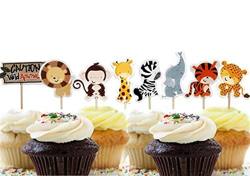 A Little Lemon 48 Pcs Cute Decorative Cupcake Muffin Toppers Wild Animals Zoo Zebra Lion Tiger Elephant Giraffe Baby Shower Birthday Party Favors (Topper Animals)