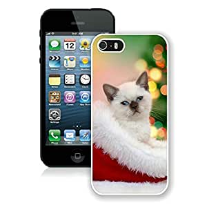 Customized Iphone 5S Protective Cover Case Christmas Cat iPhone 5 5S Case 40 White