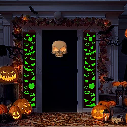 Glow Light Halloween Porch Sign Door Window Fireplace Decoration Couplets Thrilling Banner with Glowing Green Pumpkin Grimace at Night Terrorist Atmosphere Add Holiday Decor