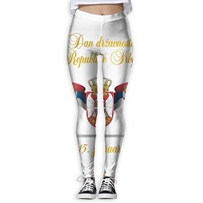 BabylLave National Emblem of The National Flag of Serbia Women Printed Full-Length Yoga Workout Leggings for Running Outdoor Sports