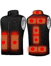 LLIU Verwarmd vest Usb, elektrisch verwarmd vest voor mannen/vrouwen, verwarmingstoestel Gilet, 9 verwarmingszones en 3 temperatuuraanpassingen, lichtgewicht wasbare verwarmde jas voor motorvissen skiën