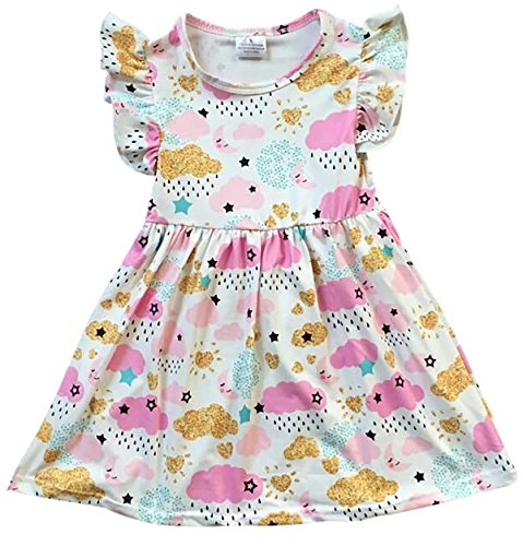 Big Girls' Lovely Cap Sleeve Cloud Rain Moon Cotton Birthday Party Girl Dress Off White 7 XXL (P201392P)