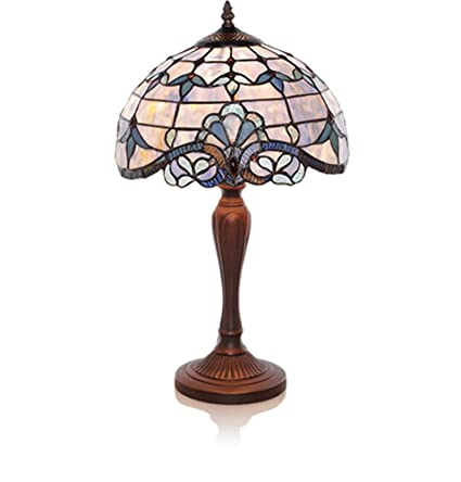 River of goods 20 5 inch tiffany style stained glass accent table lamp blue