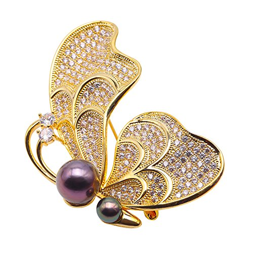 JYX Golden-tone Butterfly-brooch Tahitian Southsea Cultured Pearl Brooch Pin Pendant by JYX Pearl