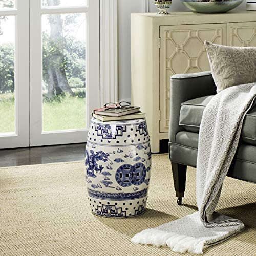 Safavieh Castle Gardens Collection Glazed Ceramic Blue Dragon's Breath Chinoiserie Garden Stool - White Garden Stool
