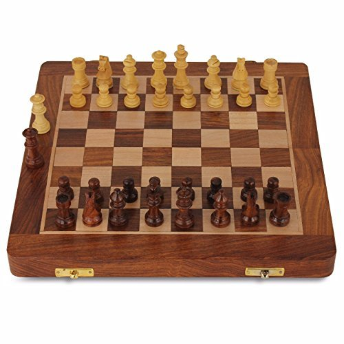 Deluxe Folding Chess Set - Chess Set - Wooden Travel Chess Set Magnetic Chess Set for Kids Adults Chess Board Folding Tournament Game Board 10.5 inch Storage Family Outdoor Chess Game Portable Handmade with 2 Extra Queens