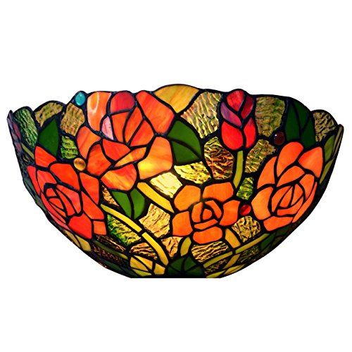 Bieye Rose Tiffany Style Stained Glass Wall Sconce Lamp