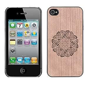 - Floral Wreath Pattern Celtic - - Funda Delgada Cubierta Case Cover de Madera FOR Apple iPhone 4 4S 4G BullDog Case