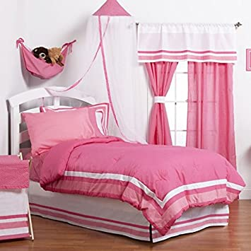 3 Piece Kids Girls Full Hot Pink Camo Comforter Set, Dot And Solid Pattern,