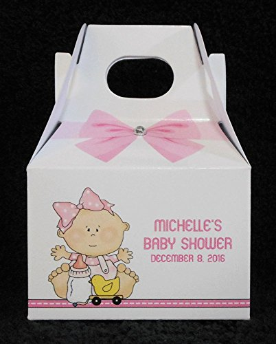 Personalized Baby Shower Favor Boxes, Baby Girl With Bottle And Ducky (Ducky Party Favors Baby Shower)