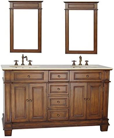 70″ Benton Collection Sanford Double Sink Bathroom Vanity Mirrors w/Cream Marble CF-3048M-70-MIR