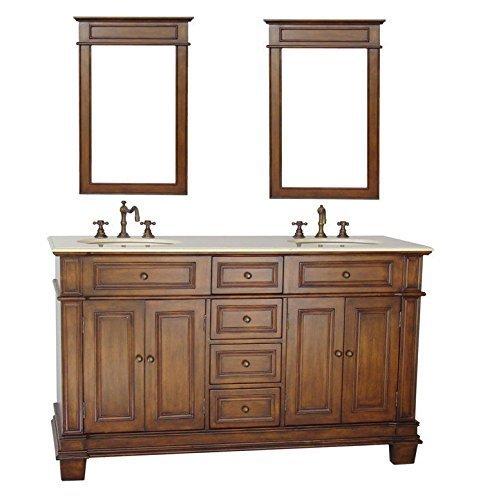 70 Benton Collection Sanford Double Sink Bathroom Vanity Mirrors w Cream Marble CF-3048M-70-MIR