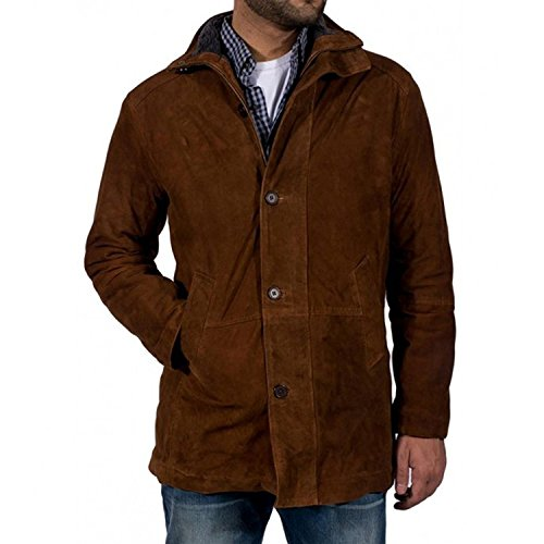 Longmire Cowboy Hat Mens Brown Suede Leather Long Trench Coat Shearling Collar Style Winter Jacket Costume (L, Brown) (Suede Jacket Coat Long Winter)